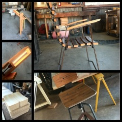 Petrified Design's Plover lamp, Plover lamp detail, bent pecan plywood, Cask chair, Tre bar stool prototype in walnut.