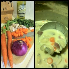 Homemade cream of mushroom soup.
